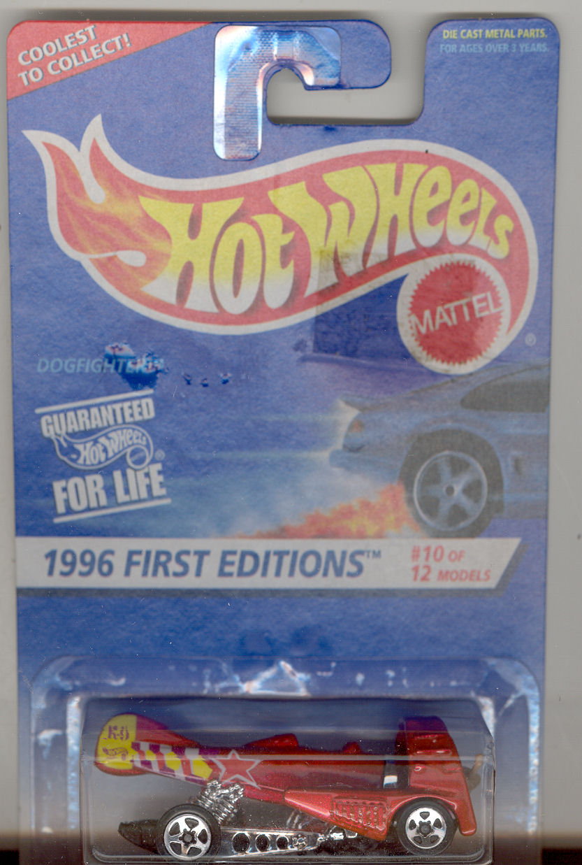 1996 Hot Wheels Mattel, First Editioin #10 Dogfighter , red, 5s spoke hub,