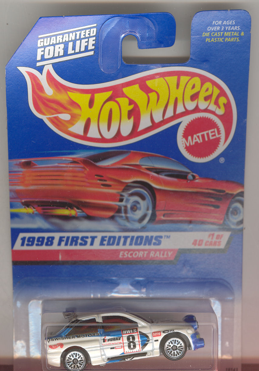 1998 Hot Wheels Mattel, First Editions, Escort Rally, #1 white, lace hub,