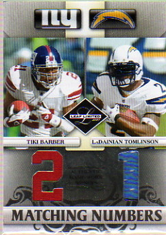 2007 Leaf Limited Matching Numbers Jerseys #8 Tiki Barber/LaDainian Tomlinson
