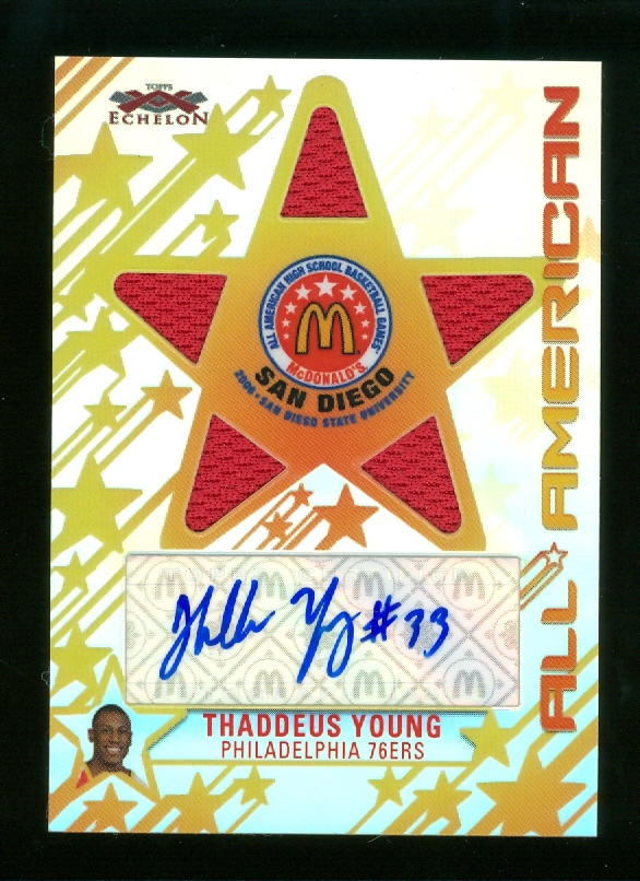 2007-08 Topps Echelon McDonald's All-American Autographs Five-Piece Relics #TY Thaddeus Young