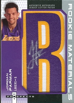 2006-07 Fleer Hot Prospects Rookie Materials Letter Autographs #JF Jordan Farmar