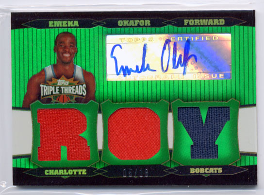 2006-07 Topps Triple Threads Relics Autographs Emerald #51 Emeka Okafor ROY