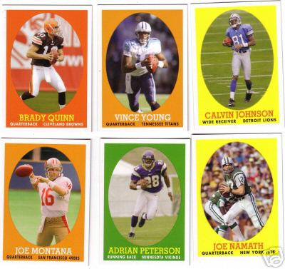 2007 Topps Turn Back the Clock Football Set (22 Cards) (Includes Adrian Peterson, Brady Quinn, Reggie Bush, Ladainian Tomlinson, Jim Brown, Dan Marino, Joe Montana, Joe Namath, Barry Sanders and more)