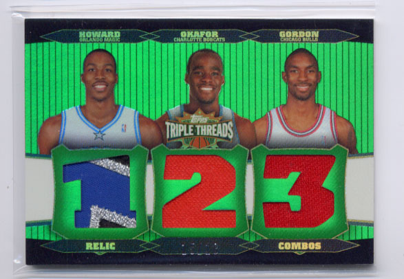 2006-07 Topps Triple Threads Relics Combos Emerald #22 Dwight Howard/Emeka Okafor/Ben Gordon