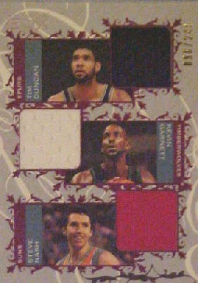 2006-07 Topps Luxury Box Courtside Relics Triple Blue #DGN Tim Duncan/Kevin Garnett/Steve Nash