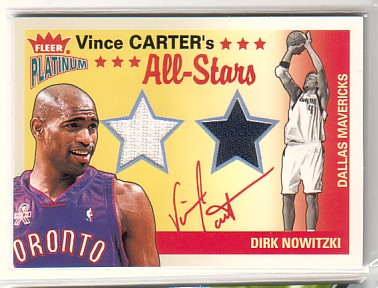 2002-03 Fleer Platinum Vince Carter's All-Stars Game Used #DN Vince Carter/Dirk Nowitzki