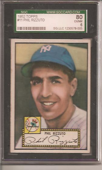 1952 Topps #11 Phil Rizzuto SGC 6 EXMT Actual scan