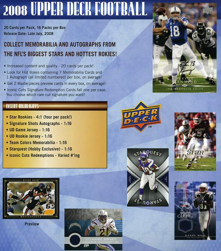 2008 Upper Deck Football Factory Sealed HOBBY Box - 64 Star Rookies, 3 Memorabilia Cards & 1 Autographed Card Per Box On Avg. - Possible Darren McFadden Brett Favre Adrian Peterson - In Stock Now