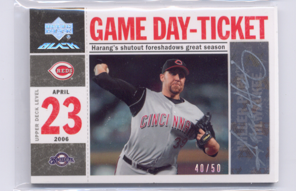 2007 UD Black Game Day Lineup Autographs #AH Aaron Harang