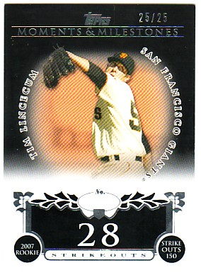 2008 Topps Moments and Milestones Black #74-28 Tim Lincecum