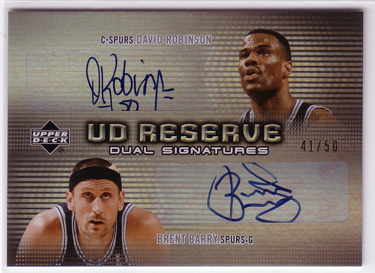 2006-07 UD Reserve Signatures Dual #RB David Robinson/Brent Barry