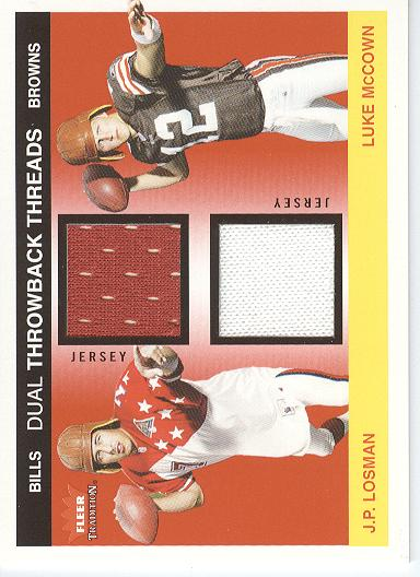 2004 Fleer Tradition Rookie Throwback Threads Dual Jerseys #JLLM J.P. Losman/Luke McCown