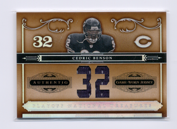 2006 Playoff National Treasures Material Jersey Numbers #4 Cedric Benson/32