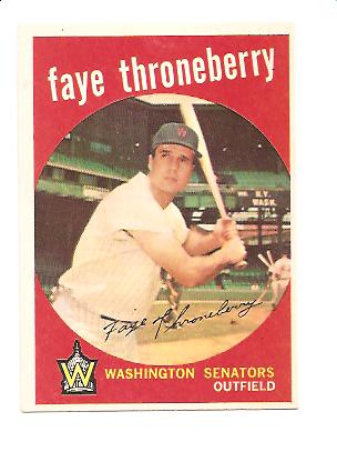 1959 Topps #534 Faye Throneberry EXMT Actual scan
