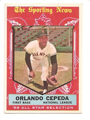 1959 Topps #553 Orlando Cepeda AS EXMT Actual scan