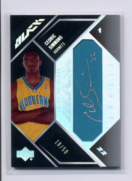 2006-07 UD Black Autographs Rookie Materials #CS Cedric Simmons