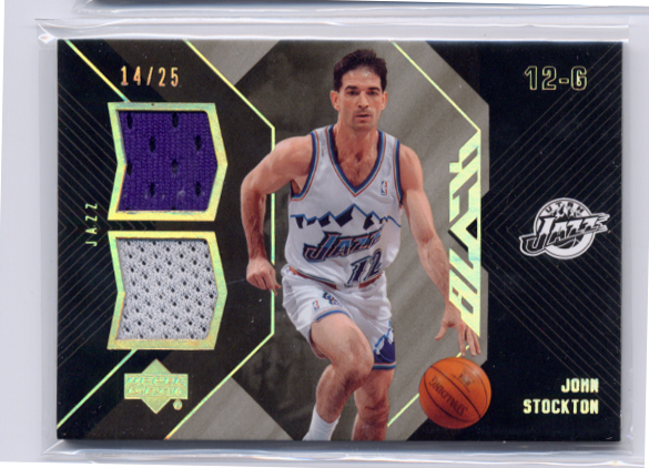 2006-07 UD Black Dual Materials 25 #JS John Stockton