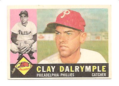 1960 Topps #523 Clay Dalrymple RC EX Actual scan