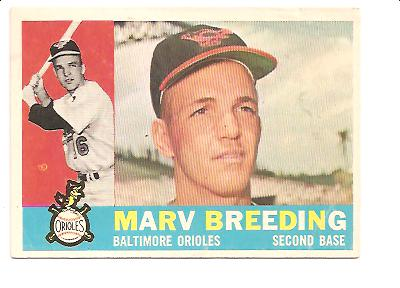 1960 Topps #525 Marv Breeding RC EX Actual scan