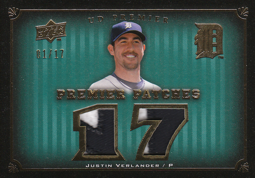 2008 Upper Deck Premier Patches Gold Milestones #VE Justin Verlander/17 front image
