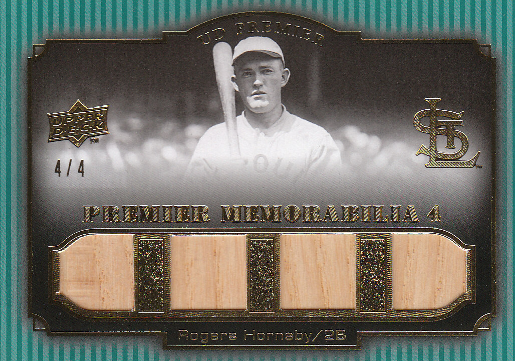 2008 Upper Deck Premier Memorabilia Quad Gold #RH Rogers Hornsby front image
