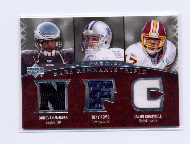 2007 Upper Deck Premier Rare Remnants Triple #MRC Donovan McNabb/Tony Romo/Jason Campbell