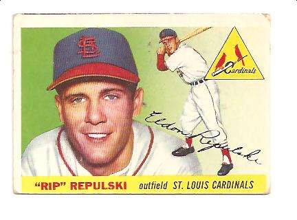 1955 Topps #55 Rip Repulski EX Actual scan