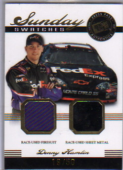 2007 Press Pass Legends Sunday Swatches Gold #DHSS Denny Hamlin