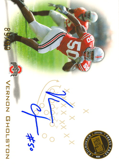 2008 Press Pass Autographs Gold #PPSVG Vernon Gholston