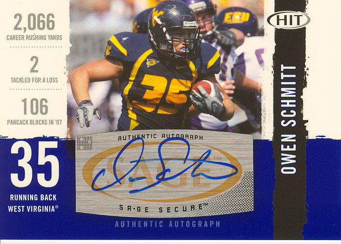 2008 SAGE HIT Autographs #A70 Owen Schmitt