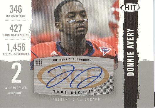 2008 SAGE HIT Autographs Silver #A98 Donnie Avery