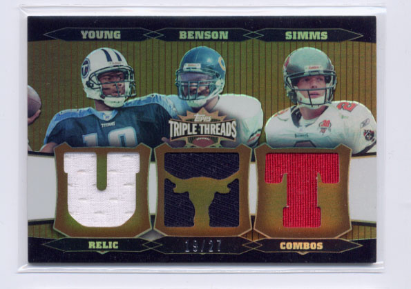 2006 Topps Triple Threads Relic Combos Sepia #34 Vince Young/Cedric Benson/Chris Simms
