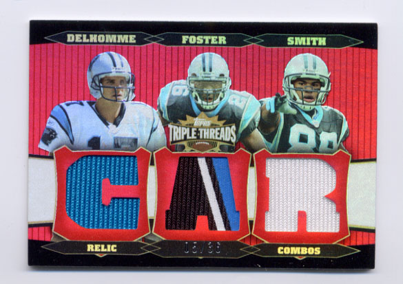 2006 Topps Triple Threads Relic Combos Red #54 Jake Delhomme/DeShaun Foster/Steve Smith
