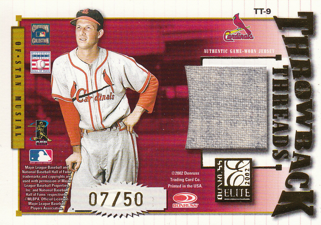 2002 Donruss Elite Throwback Threads #9 Stan Musial/J.D. Drew front image