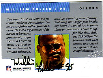 1992 Pro Line Portraits Autographs #51 William Fuller