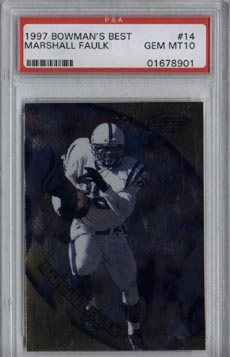 1997 Bowman's Best Football #14 Marshall Faulk PSA Gem Mint 10 Indianapolis COLTS AWESOME!!