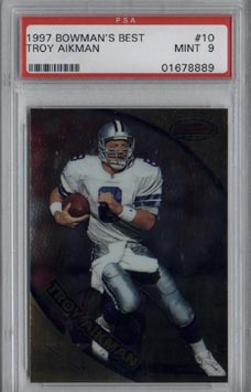 1997 Bowman's Best Football #10 Troy Aikman Mint PSA 9 Dallas COWBOYS BEAUTIFUL!!