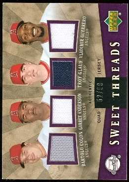 2004 Sweet Spot Sweet Threads Quad #CAGG Bartolo Colon/Garret Anderson/Troy Glaus/Vladimir Guerrero