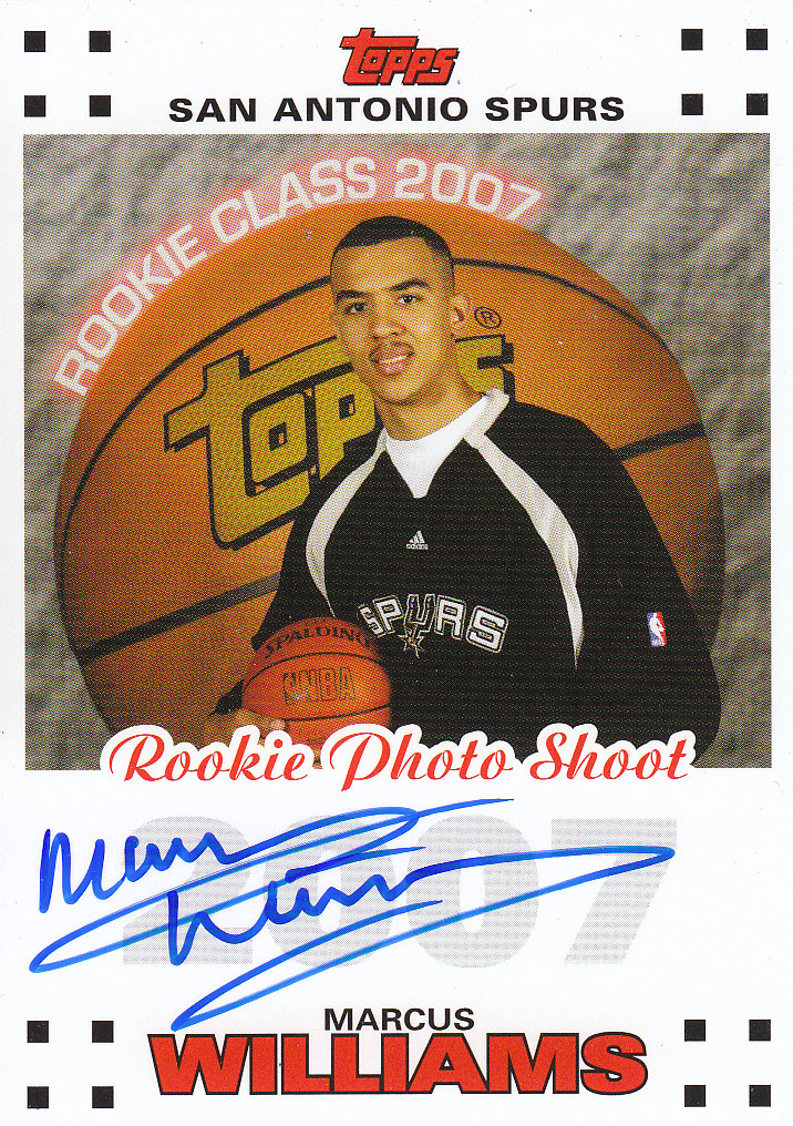 2007-08 Topps Rookie Photo Shoot Autographs #MW Marcus Williams