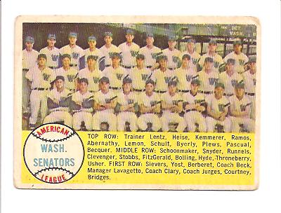 1958 Topps #44 Washington Senators TC