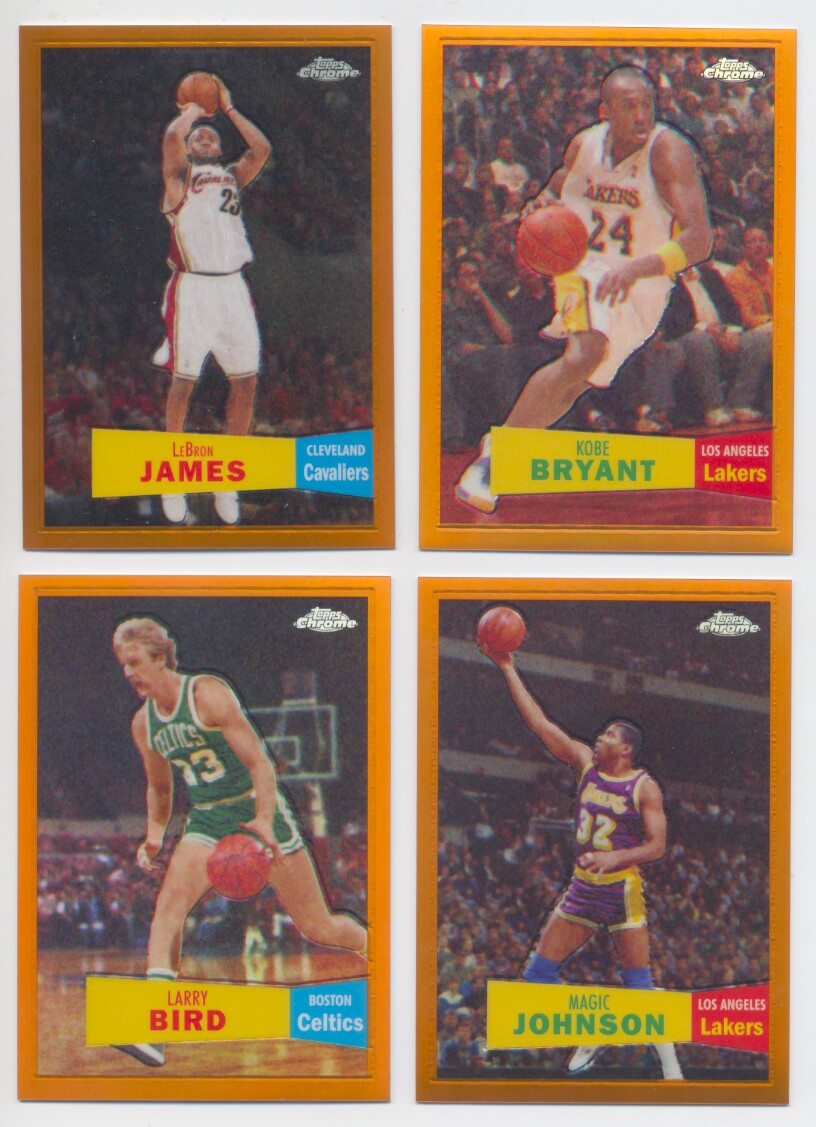 2007-08 Topps Chrome Basketball Orange Refractor '57-'58 Variation Set - 50 Cards