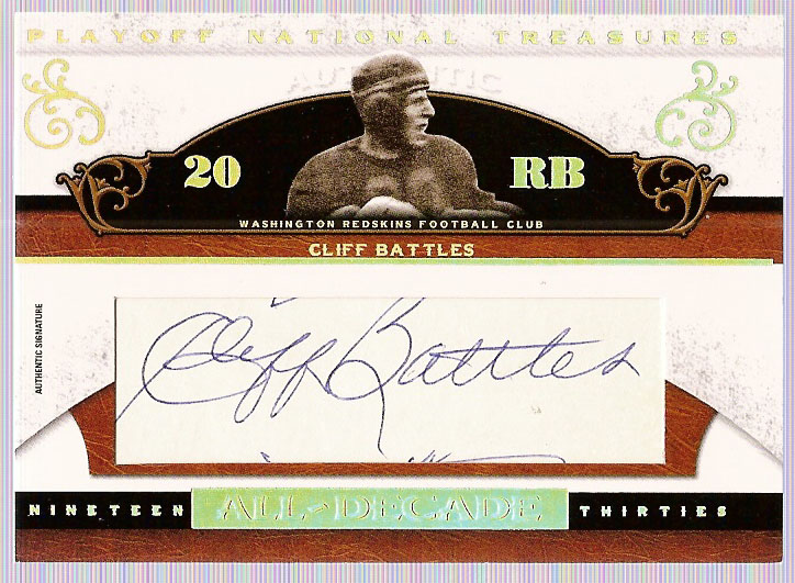 2007 Playoff National Treasures All Decade Signature Cuts #CB Cliff Battles/41