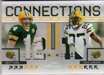 2008 Playoff Prestige Connections Materials Prime #13 Brett Favre/Greg Jennings