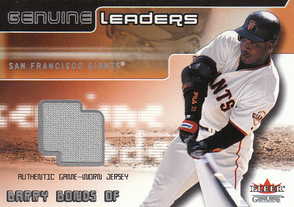 2002 Fleer Genuine Leaders Game Jersey #4 Barry Bonds