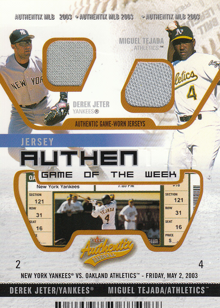 2003 Fleer Authentix Game Jersey Game of the Week Unripped #DJMT Derek Jeter/Miguel Tejada
