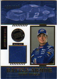 2008 Press Pass Stealth Battle Armor Drivers #BAD12 Kurt Busch Race-Used Sheet Metal Card Serial #030/120