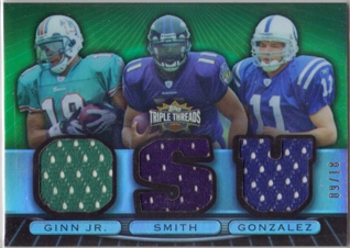 2007 Topps Triple Threads Relic Combos Emerald #32 Ted Ginn Jr./Troy Smith/Anthony Gonzalez