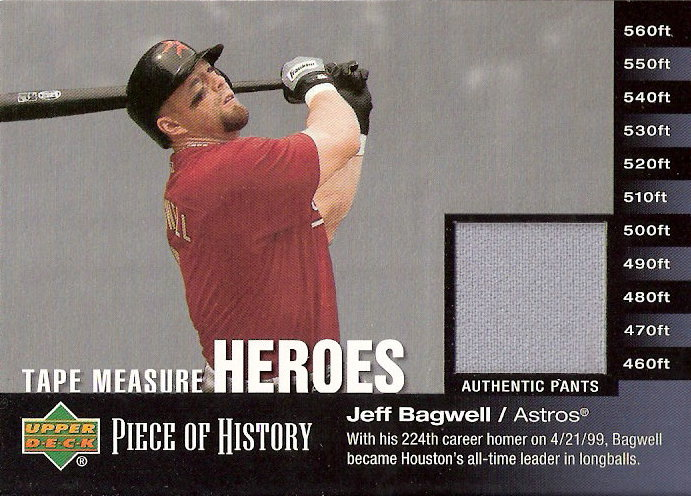 2002 UD Piece of History Tape Measure Heroes Jersey #JB Jeff Bagwell