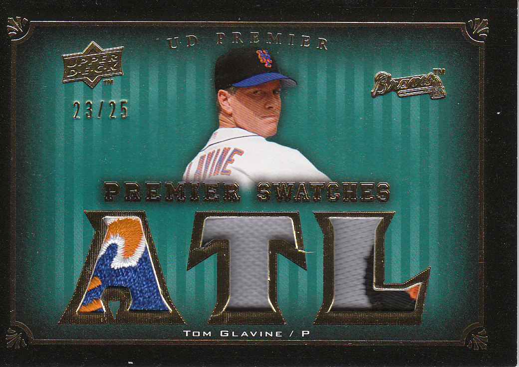 2008 Upper Deck Premier Swatches Gold 25 #TG Tom Glavine front image