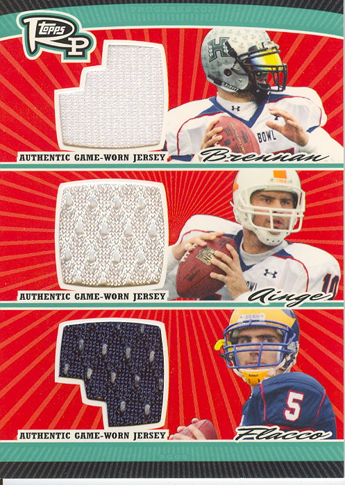 2008 Topps Rookie Progression Game Worn Jerseys Triple #BAF Colt Brennan/Erik Ainge/Joe Flacco